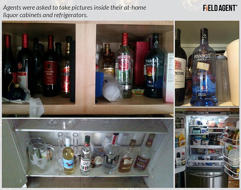 Agents were asked to take pictures inside their at-home liquor cabinets and refrigerators].