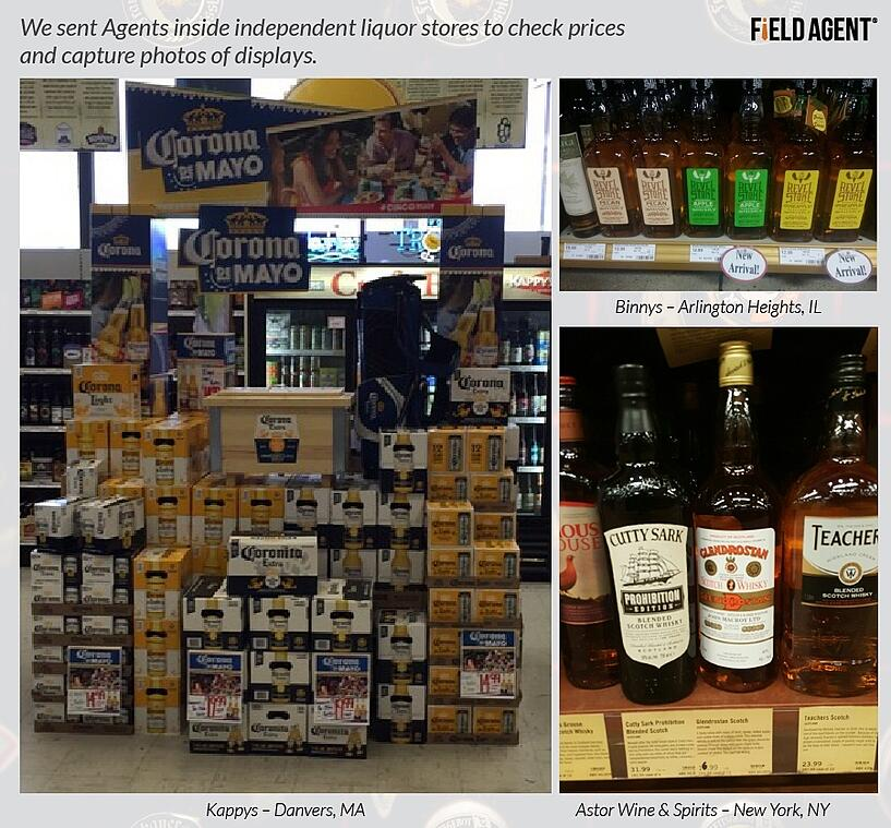 We sent Agents inside independent liquor stores to check prices and capture photos of displays.