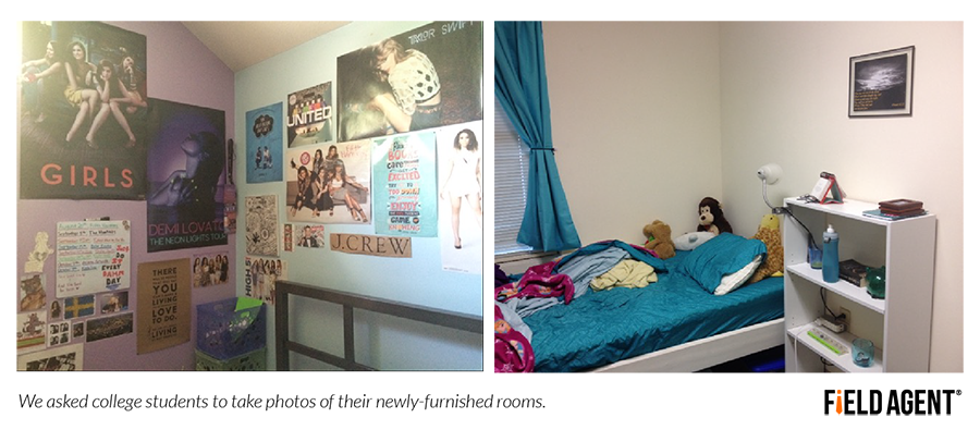 we asked college students to take photos of their newly-furnished rooms.