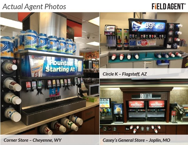 Actual Agent Photos of the Fountain Drink section at Convenience Stores