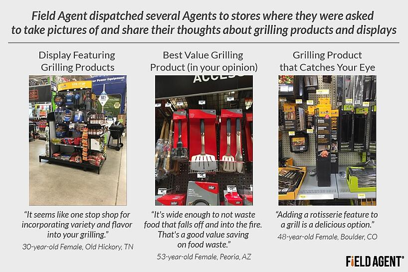 Field agent dispatched several Agents to stores where they were asked to take pictires of and share their thoughts about grilling products and displays [AGENT PHOTOS]
