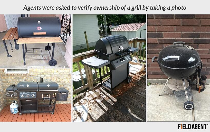 Agents were asked to verify ownership of a grlil by taking a photo