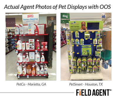 Actual Agent Photos of Pet Displays with Out of Stocks