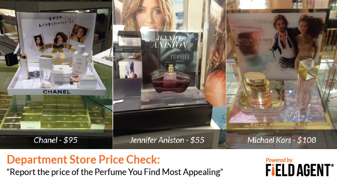 Department Store Price Checks: Report the price of the Perfume You Find Most Appealing [Agent Photos]
