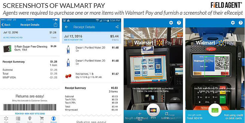 Walmart Pay App Screenshots: Agents were required to purchase one or more items with Walmart Pay and furnish a screenshot of their eReceipt