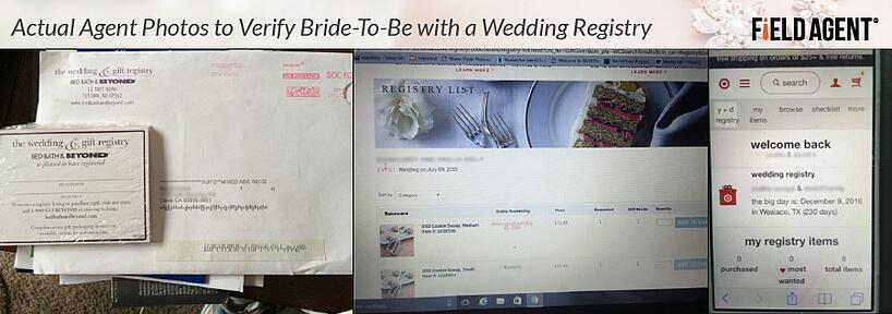 Actual Agent photos to verify Bride-to-be with a Wedding Registry